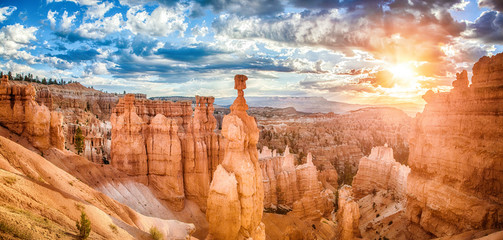 Bryce Canyon National Park at sunrise with dramatic sky, Utah, USA Wall mural