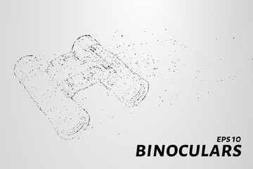 The binoculars of the particles. Binoculars consists of small circles and dots. Vector illustration