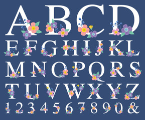 Vector illustration of decorative alphabet with flower on each letter.