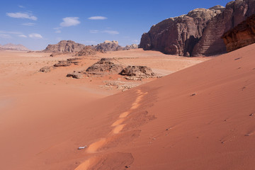 Human tracks in the sand in Wadi Rum Jordan