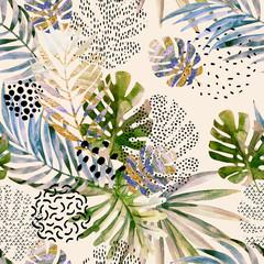Keuken foto achterwand Grafische Prints Abstract palm, monstera leaf seamless pattern.