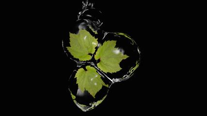 Blätter in Wasserkugeln eingeschlossen, 3d illustration