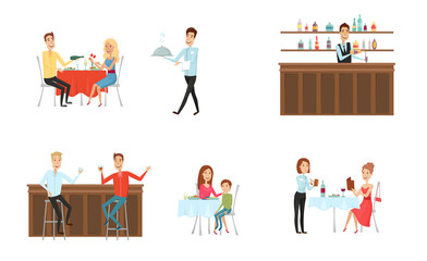 Set of people in restaurant and at the bar. Flat and cartoon style. Different background. Vector illustration.