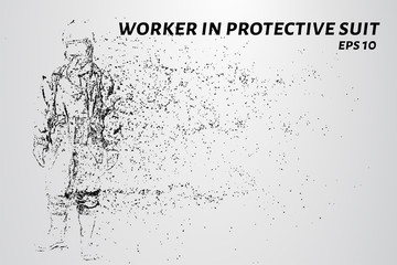 Worker in a protective suit of the particles. Worker in protective suit consists of circles and points. Vector illustration.