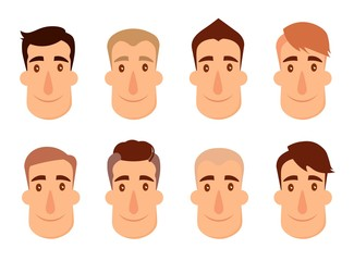 Set of avatars. Male characters. People faces, man, boy, person, user. Modern vector illustration flat and cartoon style. Different background.