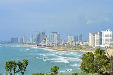 TEL AVIV, ISRAEL - APRIL, 2017: View of the coastline of Tel Aviv from the observation deck in old Jaffa