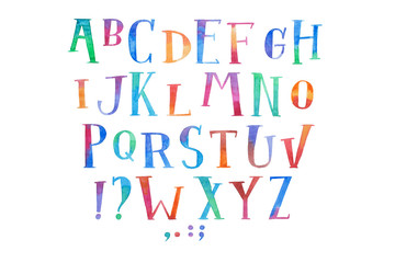 Colorful watercolor aquarelle font type handwritten hand draw abc alphabet letters