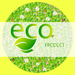 A round shape of leaves, butterfly, ladybug and chamomiles with the inscription eco product on a light background.