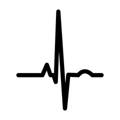 Heart rhythm ekg black icon .