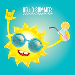 hello summer rock n roll vector label or logo.