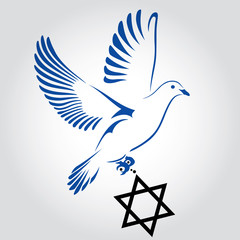 Dove flying with a Symbol of Religion. Jewish Star. Dove Of Peace. Vector illustration.