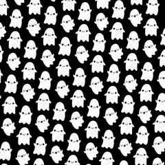 Cute Ghosts Halloween Pattern Illustration