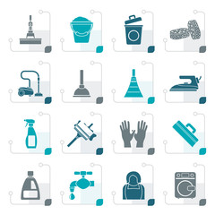 Stylized Cleaning and hygiene icons - vector icon set