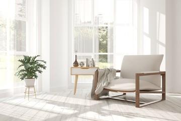 Idea of white minimalist room with armchair. Scandinavian interior design. 3D illustration