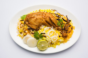 Hyderabadi Biryani is most well-known Non-Vegetarian culinary delights from the famous Hyderabad Cuisine. A traditional Indian dish made using Basmati rice, chicken meat & various other exotic spices