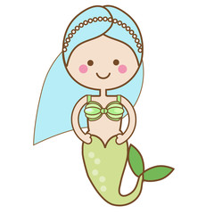 Cute kawaii Mermaid character in Cartoon Style. vector illustration