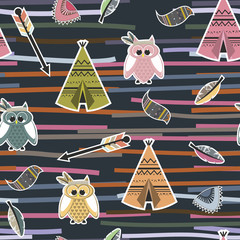 Fototapeta Seamless pattern in tipi, owls and feathers obraz