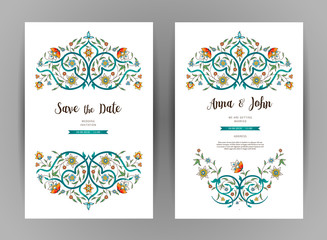 Vector vintage floral cards in Eastern style.