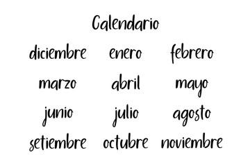 Handwritten Months. Spanish language. Modern Calligraphy. Isolated on White Background. Vector illustration for design calendar 2018, greeting card, planner, organizer, invitation.