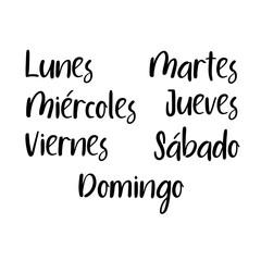 Handwritten days of the week: Monday, Tuesday, Wednesday, Thursday, Friday, Saturday, Sunday. Spanish language. Semana. Black ink calligraphy words isolated on white background. Vector Calligraphy.