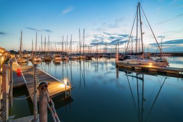 Nightfall at the idyllic tourist and sailing resort of Yarmouth on the Isle of Wight