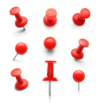 Set of push pins in different angles. Vector illustration.