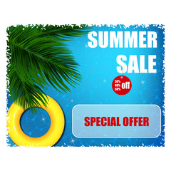 Summer banner with the announcement of discounts on the background of blue water with highlights and palm leaves.
