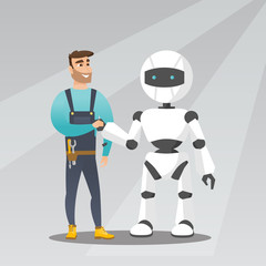 Young caucasian man handshaking with robot.