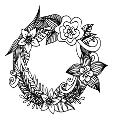 hand drawn frame with flowers