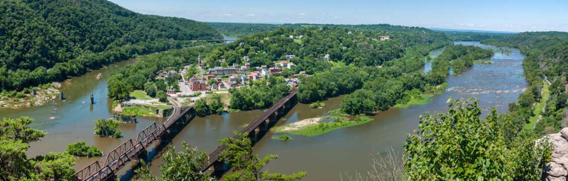 Wide Panorama Overlooking Harpers Ferry, West Virginia from Maryland Heights