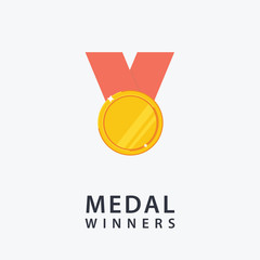 Medal For First Place. Flat Design of Gold Medal
