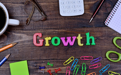 The word Growth on table