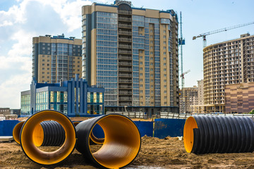Pipes of large diameter. Construction of sewage treatment plants.