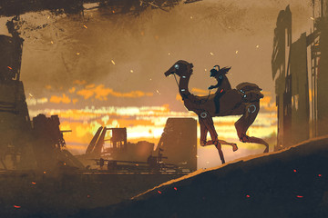 sci-fi scene of man on futuristic camel running in apocalypse city at sunset, digital art style, illustration painting