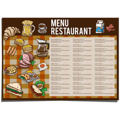 menu food restaurant template design hand drawing graphic.