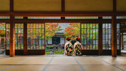 Japanese Geisha at Look at a Japanese Garden in Colorful Autumn at Kenninji Temple in Kyoto
