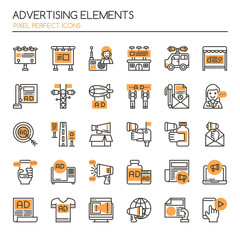 Advertising Elements , Thin Line and Pixel Perfect Icons