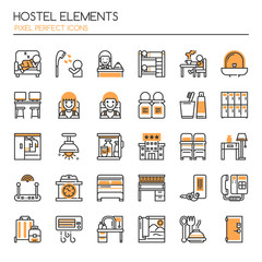 Hostel Elements , Thin Line and Pixel Perfect Icons