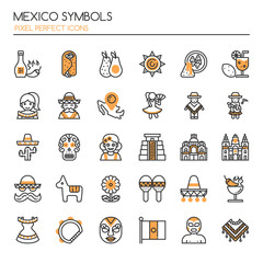 Mexico Symbols , Thin Line and Pixel Perfect Icons.