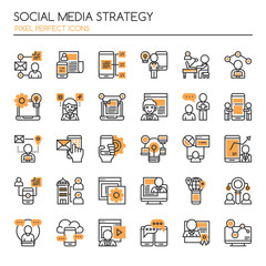 Social Media Strategy Elements , Thin Line and Pixel Perfect Icons.
