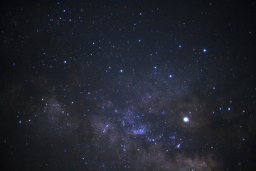 Starlight in night sky and milky way galaxy. Long exposure photograph.with grain