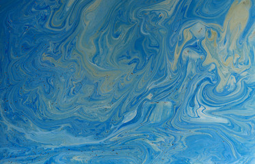 Marbled blue abstract background. Liquid marble pattern