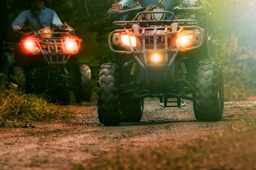 Foto auf Acrylglas Motorsport man riding atv vehicle on offroad track ,people outdoor sport activitiies theme