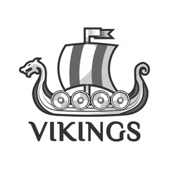 Viking warship boat with Drakkar or Drekar figurehead vector icon