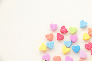Sweet hearts in colorful on cream color background