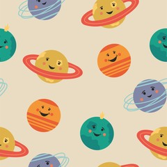 Cute seamless pattern with cartoon planets. Fun space!