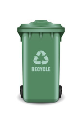Recycling bin for trash and garbage. Green trash can. Recycling wheelie bin with recycle arrow symbol. Realistic vector illustration isolated on white background