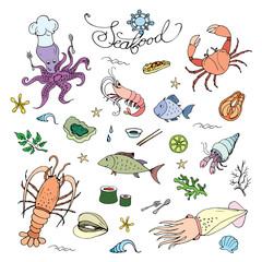 Seafood set,doodle icons or objects