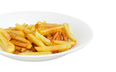 Fragment of white dish with French fries