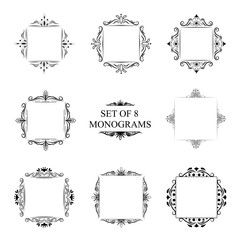 Set of eight decorative vintage monograms